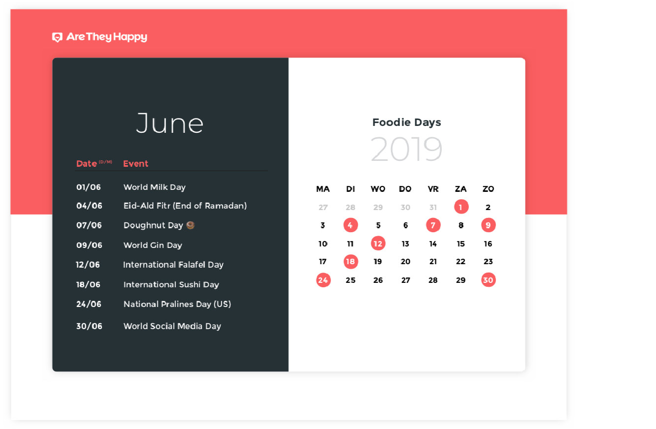 Foodie Days Calendar June
